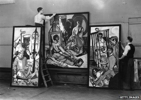 Triptych by Max Beckmann being hung at exhibition in London in July 1938