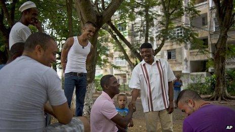 William Potts greets friends in Havana on 25 October 2013