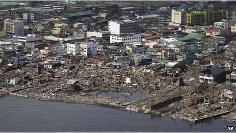An aerial shot shows the devastation in Tacloban, 10 Nov
