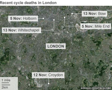 recent cycle deaths in London map