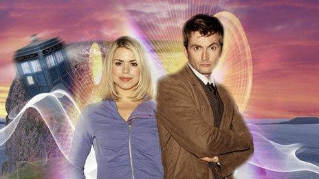 David Tennant and Billie Piper as the Doctor and Rose