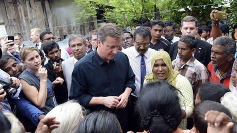 David Cameron at the Sabapathi Pillay Welfare Centre in Jaffna, Sri Lanka, 15 November 2013