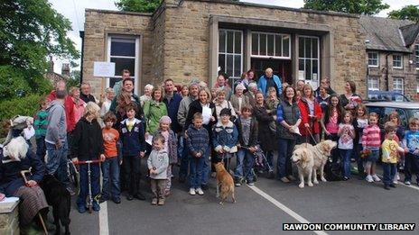 A meeting outside Rawdon Community Library