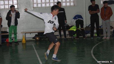 Ochiroo Batbold playing football