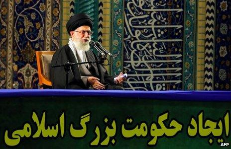 Ayatollah Ali Khamenei addresses Basij militiamen in Tehran (20 November 2013)