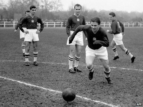 Ferenc Puskas (C) training with Renault workers on 21 November 1953