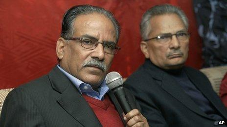 Prachanda (left) and his deputy Baburam Bhattarai