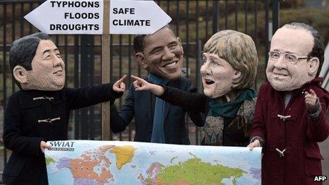 Activists wearing masks featuring French President Francois Hollande, German Chancellor Angela Merkel, US President Barack Obama and Japanese Prime Minister Shinzo Abe discuss which climate option to take.
