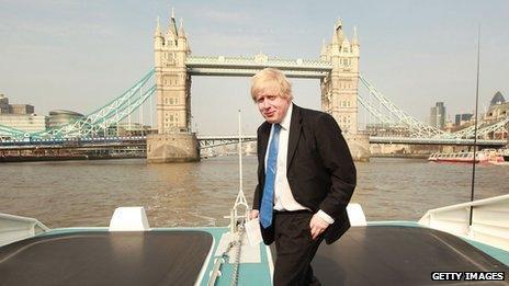 Boris Johnson in front of Tower Bridge