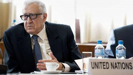 UN special envoy to Syria Lakhdar Brahimi at talks in Geneva (25 November 2013)