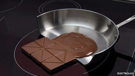 Chocolate half melting on induction heated pan