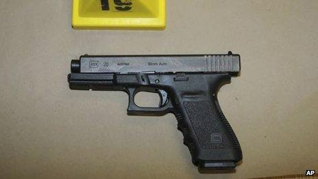 """This image contained in the """"Appendix to Report on the Shootings at Sandy Hook Elementary School"""" on 14 November 2012, released on 25 November 2013 shows a gun found in the school"""
