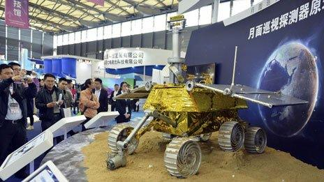China's first moon probe on display in Shanghai, November 2013