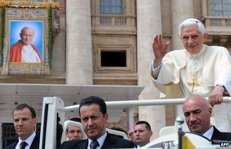 Gabriele - bottom centre - in the Popemobile with Benedict XVI