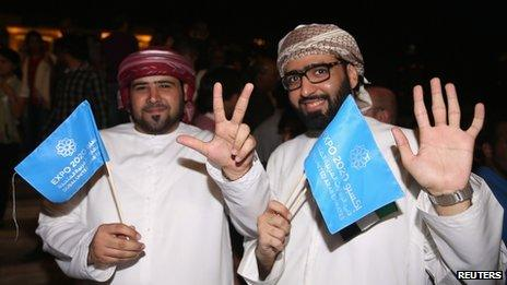 People celebrate after Dubai won the right to host the 2020 World Expo, in Dubai November 27, 2013
