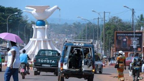 Police vehicle in Bangui