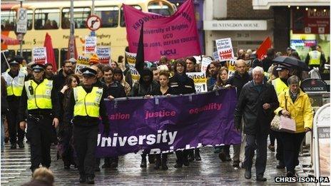 University staff on strike