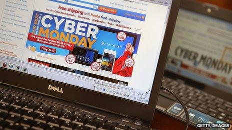 Cyber Monday on a computer screen