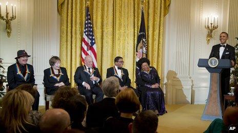 Carlos Santana, Shirley MacLaine, Billy Joel, Herbie Hancock and Martina Arroyo with President Obama
