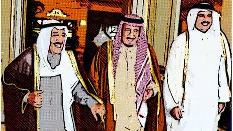 Kuwaiti Emir Sheikh Sabah al-Ahmad al-Jaber al-Sabah (L), Saudi Crown Prince Salman bin Abdul Aziz al-Saud (C) and Qatari Emir Shiekh Tamim bin Hamad al-Thani