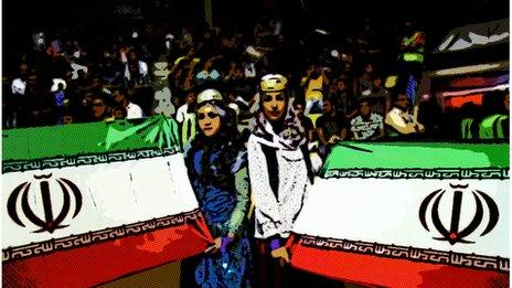 Iranians with flags