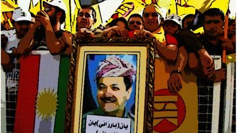 Supporters of Iraqi Kurdish President Massoud Barzani