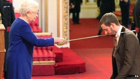 The Queen confers a knighthood on Sir Bradley Wiggins