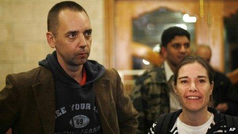 Judith Spiegel said she and her partner Boudewijn Berendsen after their release in Yemen (11 December 2013)