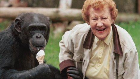 Molly Badham and a chimpanzee
