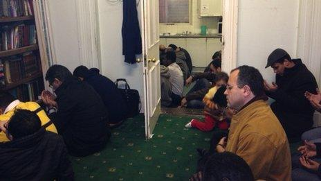 Muslim worshippers, Belfast Islamic Centre & Mosque