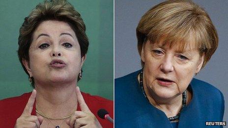 Brazilian President Dilma Rousseff and German Chancellor Angela Merkel