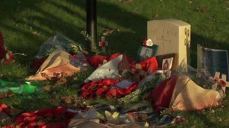 Flowers left outside Woolwich barracks on Thursday