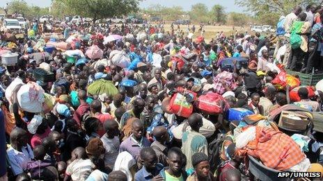 Civilians gathering outside the UN compound in Bor, on 18 December 2013
