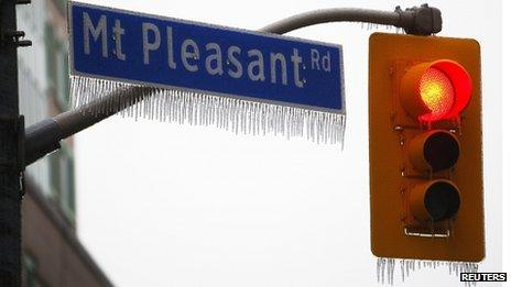 Icicles on traffic lights in Toronto