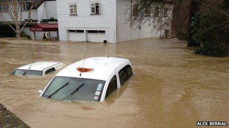 car under water in dorking