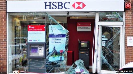 Smashed window at bank