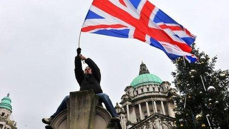 Union flag protester at Belfast City Hall