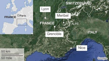 BBC map showing location of Meribel and Grenoble