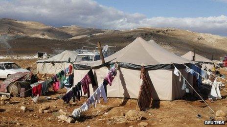 Informal Syrian refugee camp in the Arsal area of Lebanon (10 December 2013)