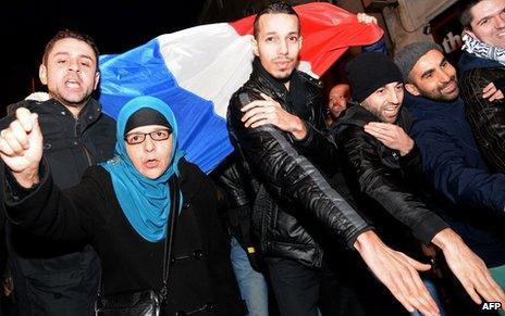 Fans of Dieudonne outside his theatre in Paris