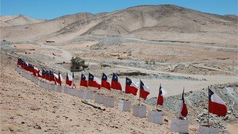 Flags at the San Jose mine in Chile
