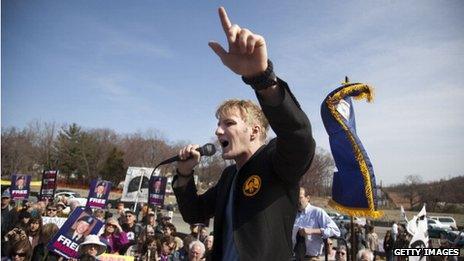 David House at a rally