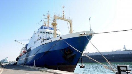 A Russian ship seized in Dakar, Senegal (5 January 2014)