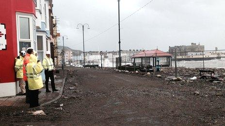Aberystwyth seafront on Monday after high tide