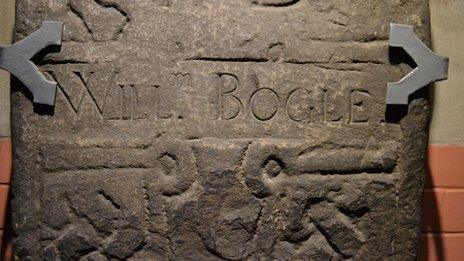 William Bogle had his name added to this ancient tombstone in the 18th century