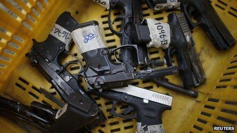 Seized pistols for destruction