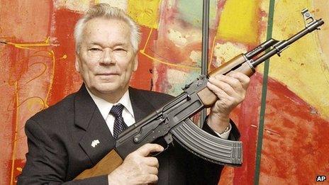 Mikhail Kalashnikov with his AK47 rifle