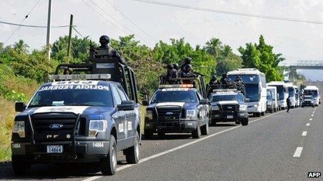 Police convoy in Michoacan