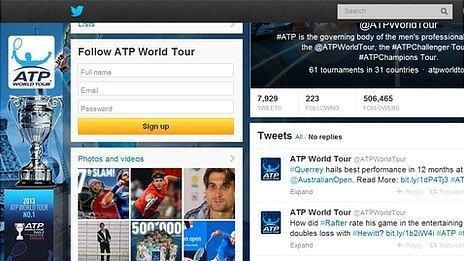 Snapshot of ATP twitter page