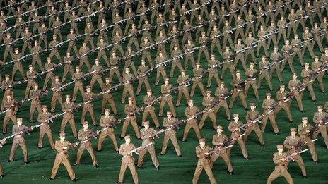 North Korean soldiers perform on May Day in the capital Pyongyang